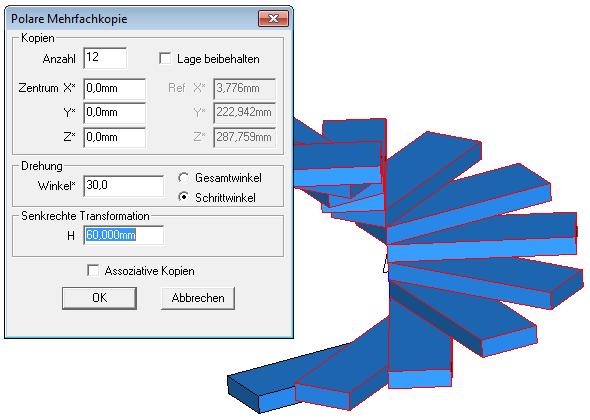 lineare/polare Mehrfachkopie in 3D