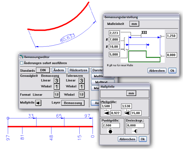 DraftBoard : erweiterte Bemaßungs-Konfiguration