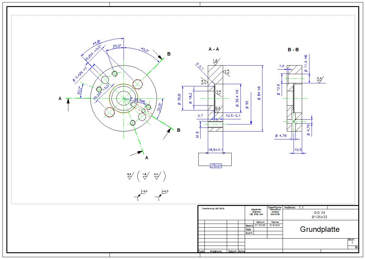 DraftBoard Beispiel-Zeichnung : Maschinenbau
